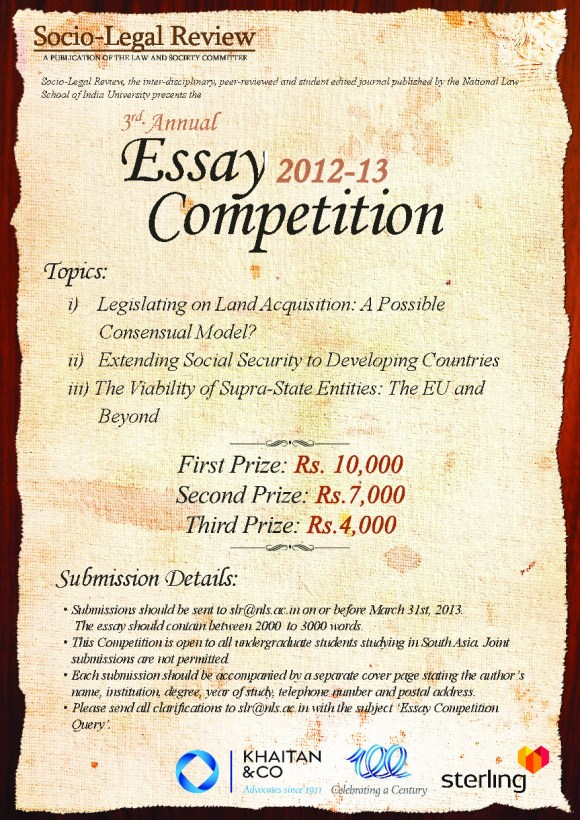 legal essay writing competition india How to write a law essay in a college legal studies course which is the traditional format for legal writing for an essay competition in law school.